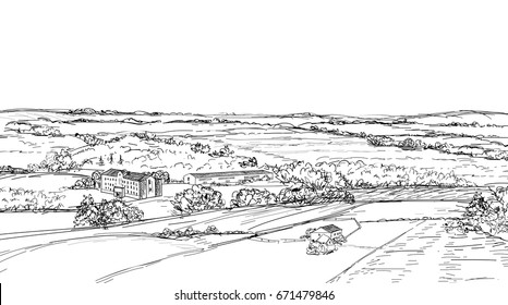 Rural landscape. Countryside view. meadow and fields skyline i doodle sketch engraving style
