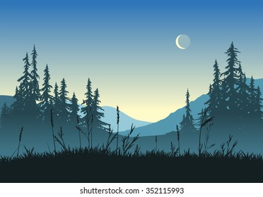 Rural landscape with crescent moon at dawn. EPS version 10.
