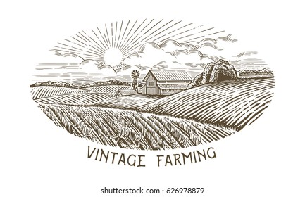 Rural landscape in engraving and vintage style. Hand drawn and converted to vector Illustration.