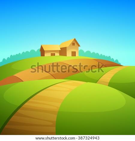rural landscape farm barn cartoon vector stock vector royalty free