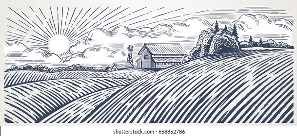 Rural landscape with a farm in engraving style. Hand drawn Illustration and converted to vector fomat