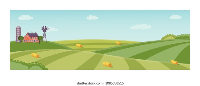 Rural landscape with farm field with green grass, trees. Farmland with house, windmill and hay stacks . Outdoor village scenery, farming background. Vector illustration