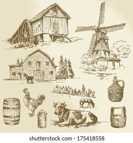 rural landscape, farm - hand drawn windmill and watermill