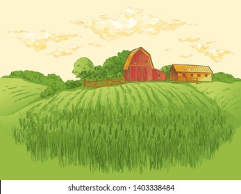 Rural landscape field of wheat with old barn, house, trees, windmills. Vector watercolor illustration.