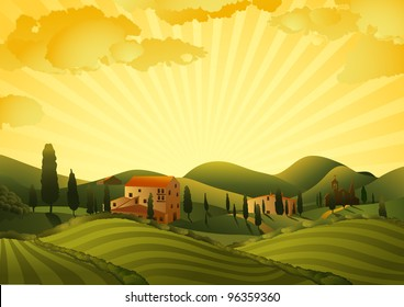 Rural landscape with fields and hills