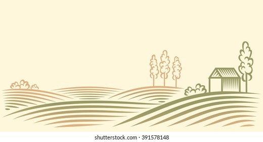 Rural landscape with fields, house and trees