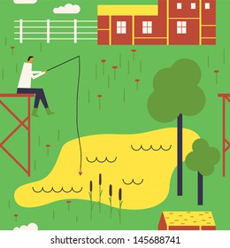 Rural landscape with a fisherman. Vector seamless background