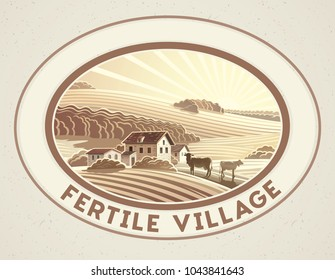 Rural landscape in the frame in monochrome color, a graphic design element for the create of the label or trademark.