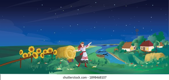 Rural landscape - a rural girl is dancing near the sunflowers. Straw and cottages by the river with a boat. Vector illustration