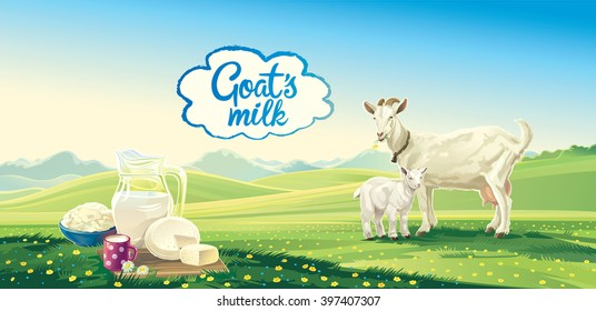Rural landscape with goat and kid, set dairy product.