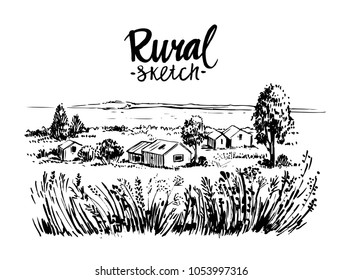 Rural landscape. Hand drawn illustration converted to vector