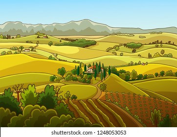 Rural landscape of hills with farm house and vineyard in Toscany, Italy. Hand drawn vector illustration.
