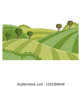 Rural landscape with hills and fields - summer green farmlands with rows of agricultural plants and trees. Flat cartoon vector illustration of countryside skyline.