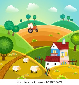 Rural landscape with hills, house and tractor. Vector.