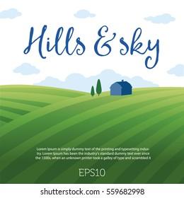 Rural landscape with hills, sky & clouds