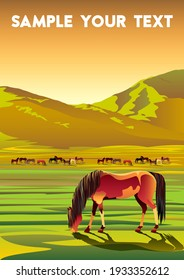 Rural landscape with horses, meadows, fields and hills in the background. Handmade drawing vector illustration. Flat design.