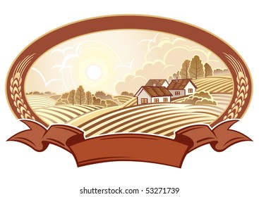 Rural landscape with houses. Monochrome.