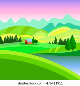 Rural landscape with the houses and mountains and hills, vector illustration