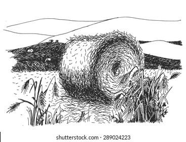 rural landscape ink pen picture - vector