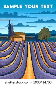 Rural landscape with lavender field and farm in Provence, France. Handmade drawing vector illustration. Vintage style poster.