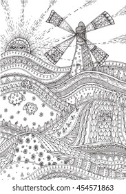 Rural landscape with a mill, fields, sheep and the rising sun with ethnic floral doodle pattern. Coloring book page - zendala, design for meditation adults, isolated on a white background. Zen doodles