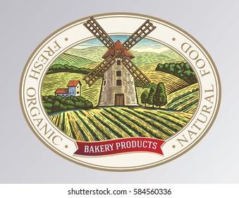 Rural landscape with mill, in frame of design elements.