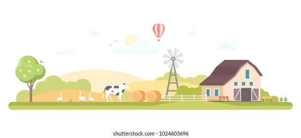 Rural landscape - modern flat design style vector illustration on white background. A composition with a barn, windmill, farm animals, haystacks. High quality image for a banner, flyer, presentation