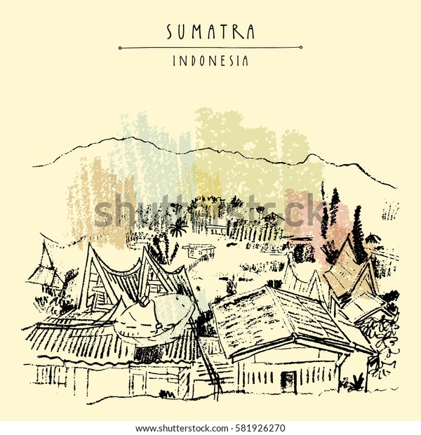 Rural landscape with mountains on lake Toba, Sumatra, Indonesia, Asia. Unique traditional Batak tribal architecture. Travel sketch. Hand-drawn vintage book illustration, greeting card in vector