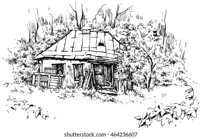 Rural landscape with old house - hand drawn vector illustration, isolated on white