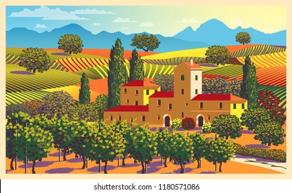 Rural landscape overlooking a farmhouse, vineyard, fields and hills in Tuscany, Italy. Handmade drawing vector illustration. All objects are divided into layers. Poster in flat design.