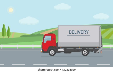 Rural landscape with road and moving delivery truck. Flat style vector illustration.