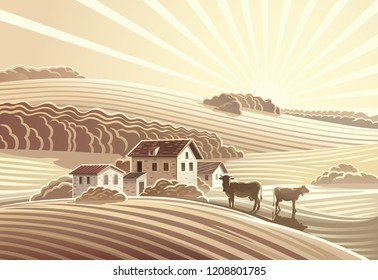 Rural landscape in sepia color, with villages houses and cows.