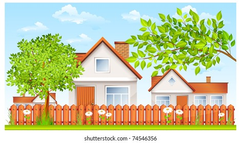 Small House Garden Stock s & Vectors