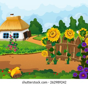 Rural landscape with a small house with a thatched roof. Wooden fence with flowers and a chick in a nest in the foreground