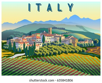 Rural landscape in summer day in Italy. Handmade drawing vector illustration. Poster in the Art Deco style