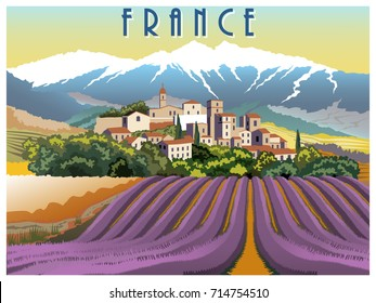Rural landscape in summer day in Provence, France. Handmade drawing vector illustration. Vintage style poster. All buildings - customizable different objects.
