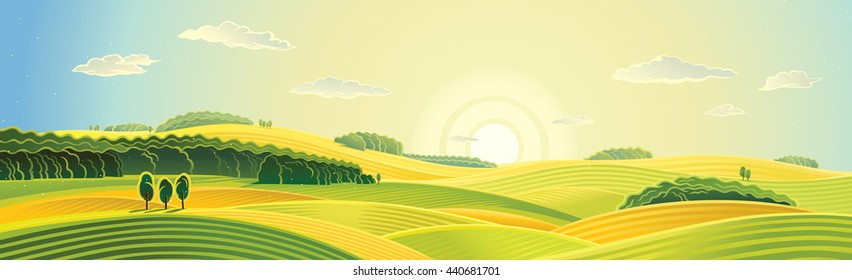 Rural landscape, summer sunrise, panorama view.