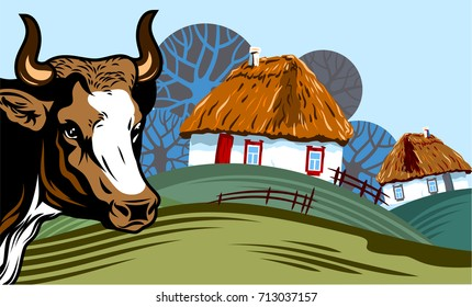 Rural landscape with trees and small houses and a cow