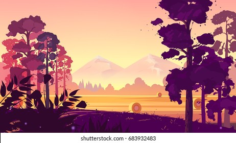 Rural landscape. Vector illustration .natural landscape graphics for your design. size.1920x1080
