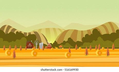 Rural landscape. Vector illustration for your project