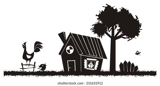 Rural landscape. Vector silhouette.