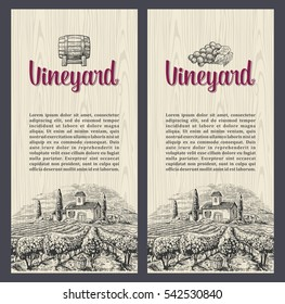 Rural landscape with villa, vineyard fields and hills. Vector engraving drawn vintage illustration. Wood texture background. For label, poster, vertical banner.