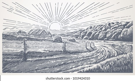 Rural landscape with village in engraving style. Vector Illustration.