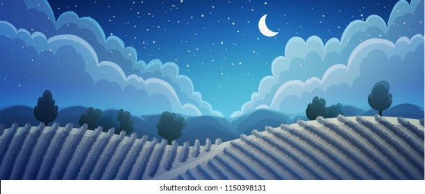 Rural landscape of vineyard at night. Vines on hills with trees and mountains in background and starry sky. Vector illustration.