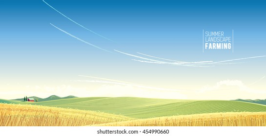 Rural landscape with wheat and house, is created for use as a background image.