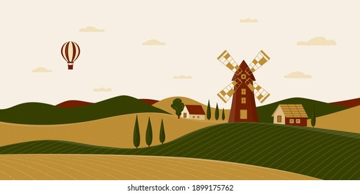 Rural landscape with windmill and farmhouses. Vector illustration of the Italian countryside. Horizontal scenery in Tuscany with fields, hills, cypresses. Balloon in the sky. Poster in flat design.
