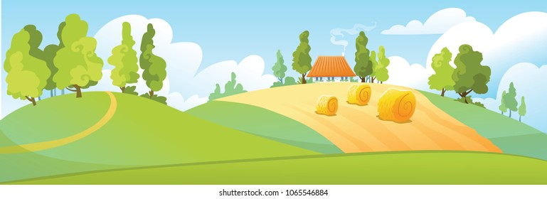 Rural landscapes with fields, trees and house