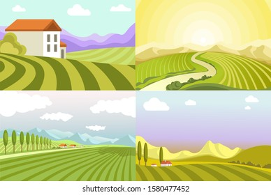 Rural landscapes vineyards and rice fields, valleys, countryside views vector. Cottage house and village, green grass and trees, nature and environment. Morning sunrise and sunset, suburban scenes