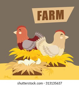 Rural lifestyle concept, farm icons, vector illustration
