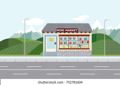 rural minimarket,vector shop background